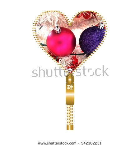 Open #love #heart shape created from golden fastener and filled with two #sparkling globes for #Christmas #tree #embellishment, on white background