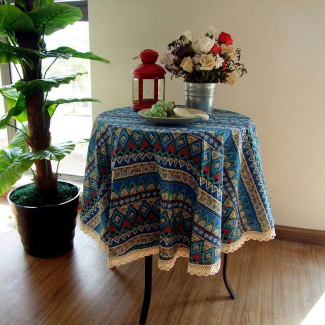 Style européen qualité coton et lin dentelle à manger nappe multi fonctionnelle…