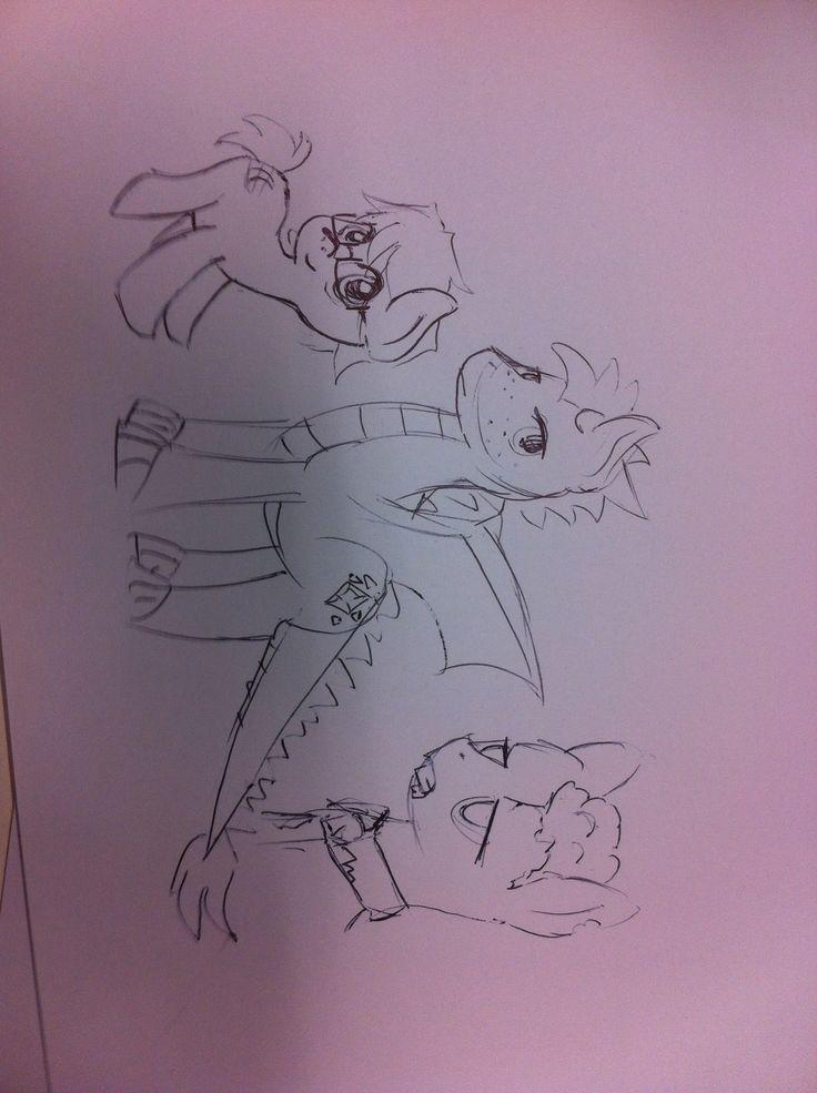 My three OCs  Moonlight (male filly -werepony) Dragonstone (male -dragon pony) And zombie pony who needs a name