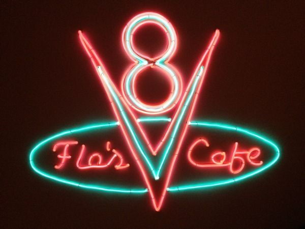 Disney's Cars 2 Flo's V8 Cafe - EL Wire sign made with Adafruit gear...