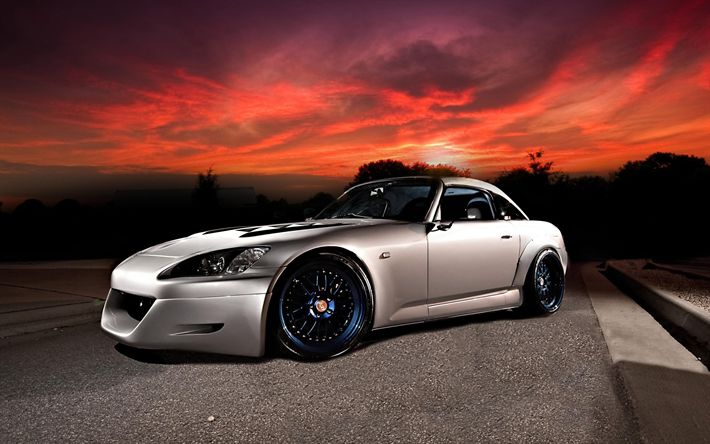 Download wallpapers Honda S2000, sunset, stance, tuning, silver s2000, Honda