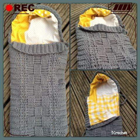 iCrochetstuff: Easy trappelzak met voering haken met zelfgemaakt patroon! Easy crochet baby cocoon with pattern!