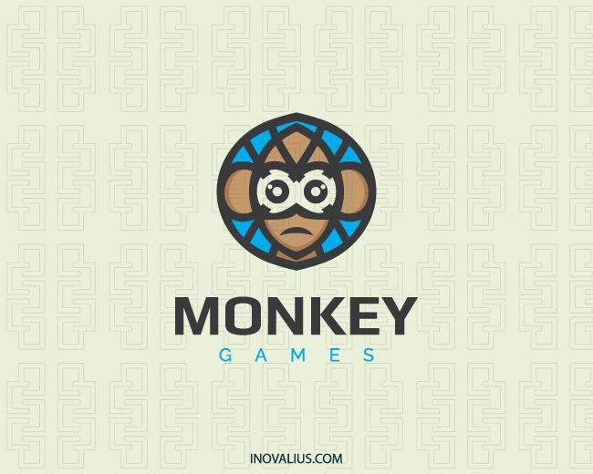 Monkey is a stylized logo in the shape of a monkey head.(monkey, chimpanzee, gorilla, mosaic, forest, animal, smart, software, games, zoo, logo for sale, logo design, logo, logotipo).