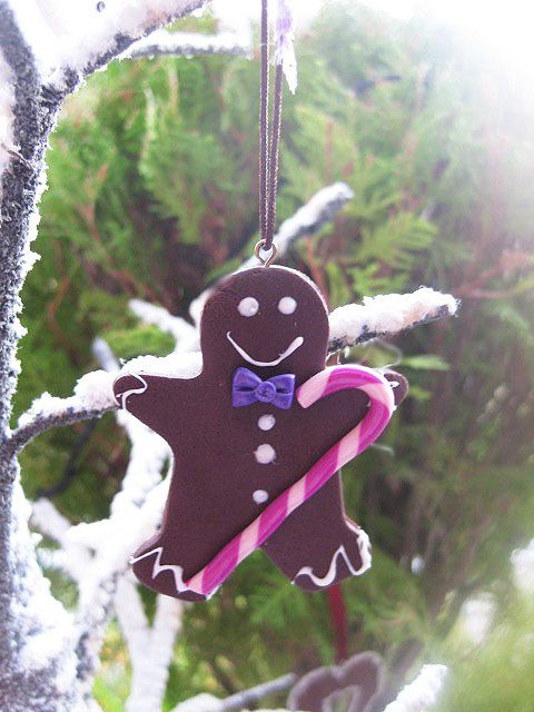 Gingerbread with Candy Christmas Ornament _ Polymer Clay by MarisAlley on Etsy