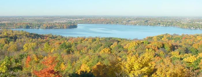 A view from the Pike Lake observation tower on Powder Hill. Kettle Moraine State Forest – Pike Lake unit Voted Most Challenging Hiking Trail 2013