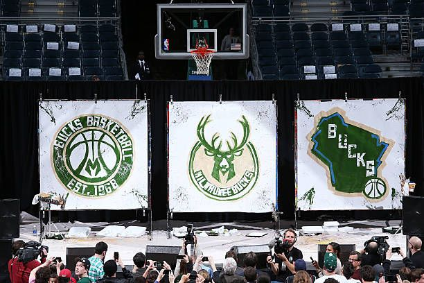 The Milwaukee Bucks unveil their new logos on April 13 2015 at the BMO Harris Bradley Center in Milwaukee Wisconsin NOTE TO USER User expressly...
