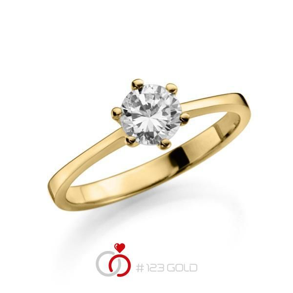 Verlobungsring Diamantring 6 Krappen, Zungenschiene gerade leicht- Legierung: Gelbgold 585/- - Steinbesatz: 1 Brillant 0,5 ct. tw, vs