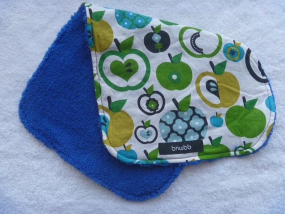 Green Apple Microfiber backed contoured baby burp cloth by bnwbb on Etsy