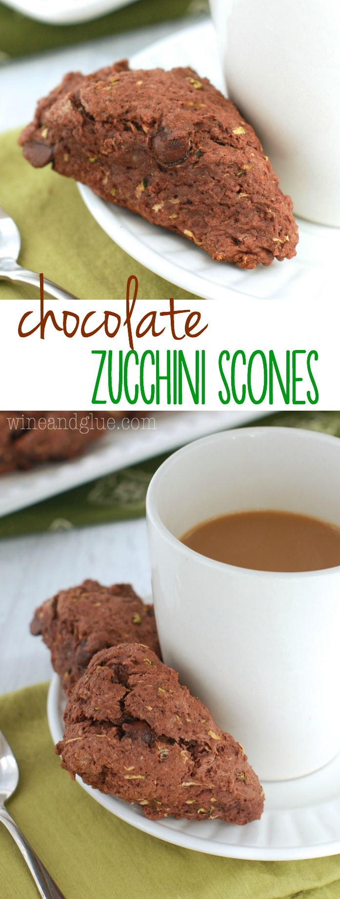 Chocolate Zucchini Scones | Chocolate for breakfast in the form of a moist yummy scone!