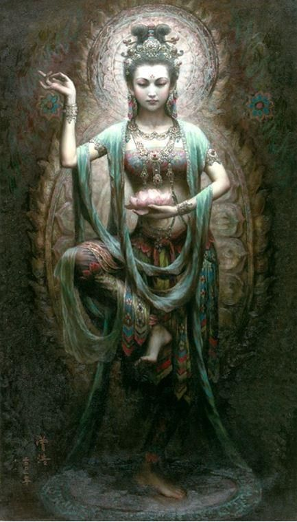 "Kuan Yin is one of the most beloved and populare Eastern divinities. A physically and spiritually beautiful Chinese goddess of mercy, compassion, and protection, her name means ""she who hears prayers."" Kuan Yin does, in fact, hear and answer every prayer sent her way."