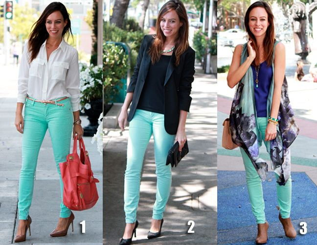 Mint jeans are extremely versatile. Here are three ways you can wear them.