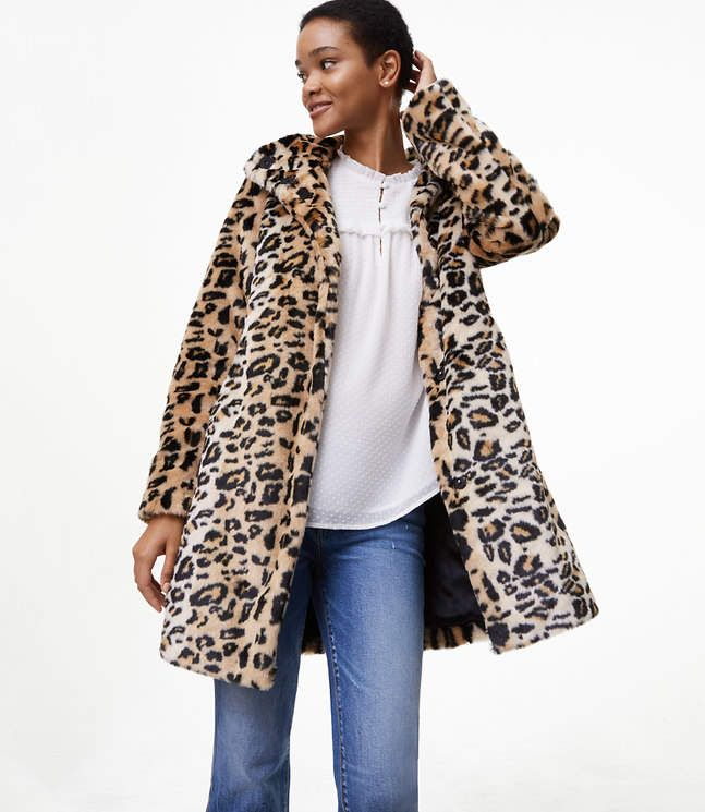 83b6d9593654 LOFT Leopard Faux Fur Coat | Products | Coat, Leopard coat, Fur