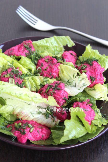 Сыроедческий обед: листовой салат под свекольным соусом. Моя тарелка, фото