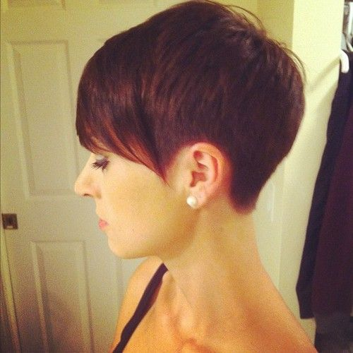 Very short on the sides and back. Long bangs.
