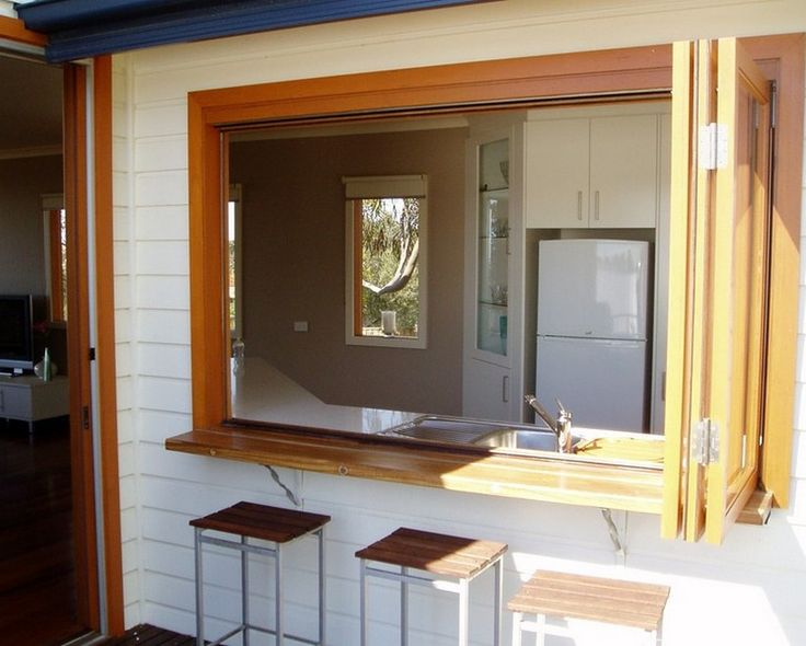 Kitchen Servery Window Ideas with Barstool