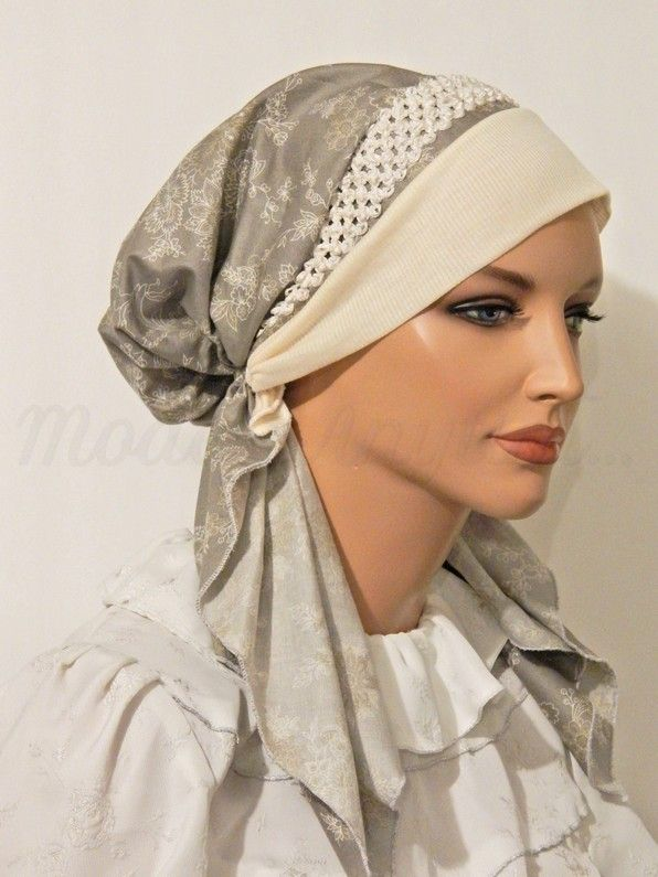 Pre-tied Headband Tichel Bandanna Snood Gray Floral Print Braided Elastic Trim