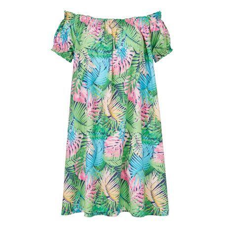 Kleid, Carmenausschnitt - Allover bedrucktes Kleid in A-Linie.