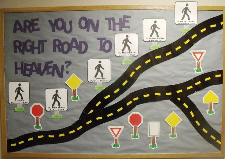 Bible Fun For Kids: Random Adult Bible Bulletin Boards.  I would make the road to heaven straight and narrow and the road to hell broad and twisted.