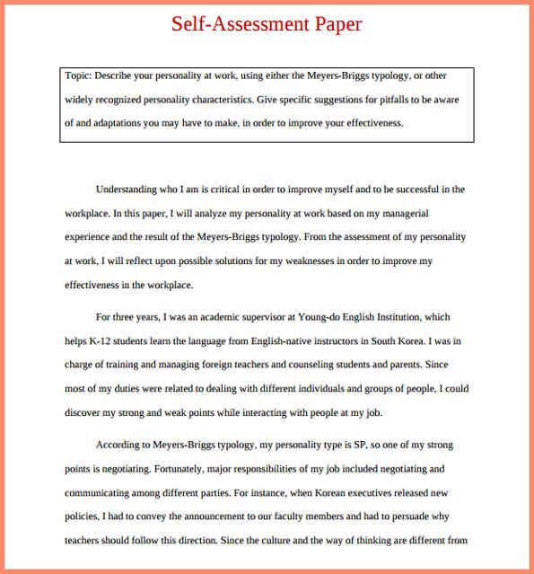Self Evaluation Examples Self Assessment Self Assessment