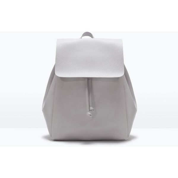 Zara Backpack With Foldover Flap (500 MXN) ❤ liked on Polyvore featuring bags, backpacks, ice, knapsack bags, rucksack bag, zara bag and backpacks bags