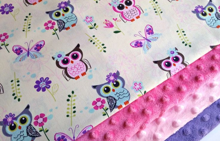 Pink Owl Minky Blanket - MADE TO ORDER - Yellow Owl Baby Blanket - Minky Baby Blanket - Pink Purple Owls - Baby Bedding - Cot Blanket by charlottechicstore on Etsy https://www.etsy.com/listing/255424617/pink-owl-minky-blanket-made-to-order