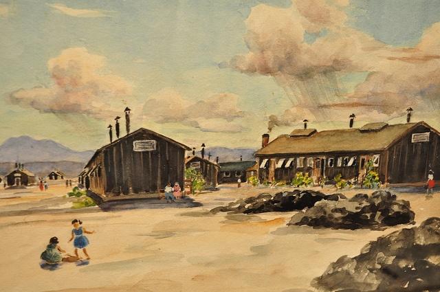 Topaz Japanese Internment Camp Painting, Springville Museum of Art