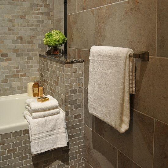 How to Decorate Home with ceramic tiles for walls :amazing bathroom design with small tiles mixed with the big tiles like natural stone in shower area | http://www.drawhome.com