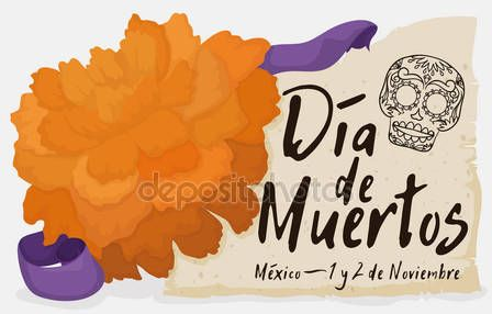 "Cempasuchil Flower with Scroll and Ribbon Celebrating ""Dia de Muertos"""