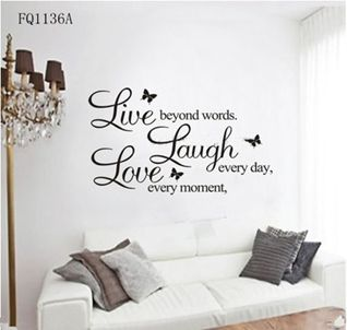 Live Laugh Love wall sticker with butterflies! www.theprettycollection.co.za