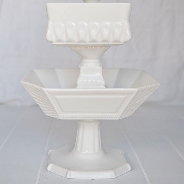 White Footed Compote Bowls Large