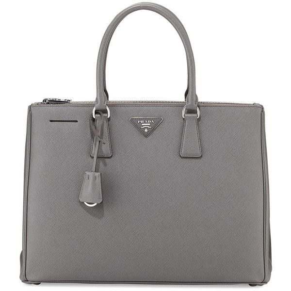 Prada Saffiano Lux Executive Tote Bag ($2,580) ❤ liked on Polyvore featuring bags, handbags, tote bags, dark gray, handbags totes, zip tote, expandable tote, handbag tote, prada tote and tote hand bags