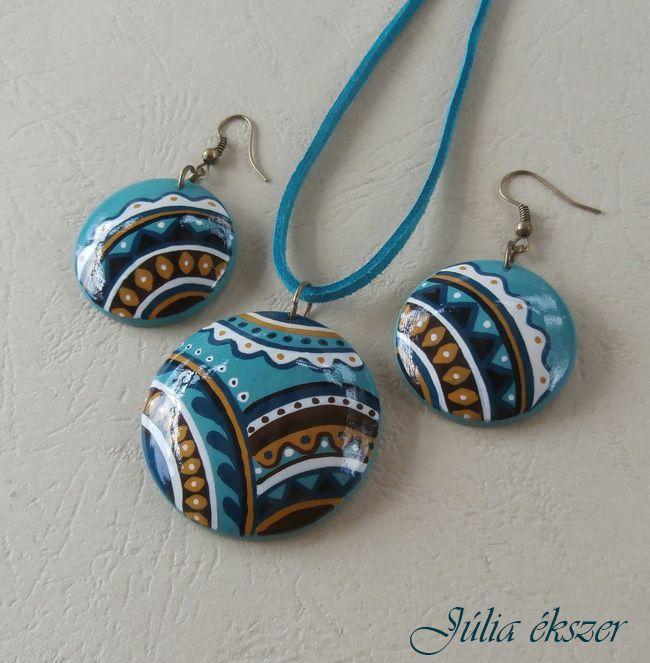 handpainted wooden jewelry set