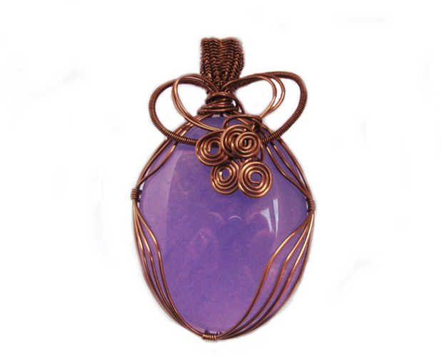 Purple Quartz & Antique Bronze Wirework Pendant by KarenJJewellery on Etsy