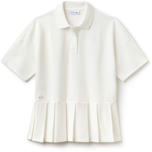 Women's Lacoste Pleated Thick Cotton Piqué Polo ($155) ❤ liked on Polyvore featuring tops, polos polos, lacoste tops, white top, white pleated top, pleated top and polo tops