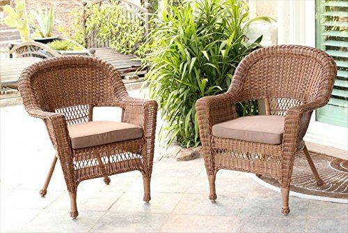 "Jeco W00205R-C_2-FS007 Honey Rocker Wicker Chair with Brown Cushion - Set of 2. Steel frame for extra durability Crafted to withstand seasons of inclement weather Hose off and wipe clean Comes fully assembled Dimensions: 28.25""L x 33.5""W x 36""H, 15lbs 3.5 inches thick for extra cushion Choose from a variety of cushion colors."