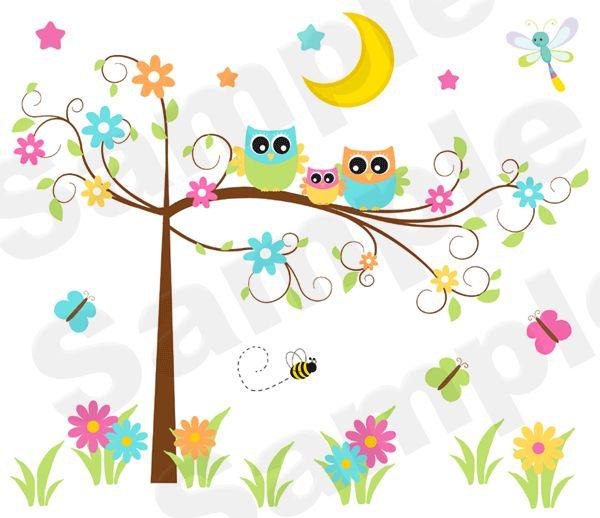 Fancy Owl Tree Wall Art Mural Baby Girl Nursery Kids Room ...