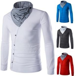 A T Shirts New Style Tees Men T Shirt Stand Collar Long Sleeve Cotton Blends Formal Style Oblique Single Breasted Men Clothing Lfp11 123 Shop For T Shirts Online From Liuzijing, $21.07| Dhgate.Com