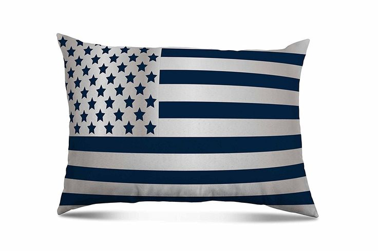 Americana Decorative Patriotic Lumbar Toss Pillow (14 x 20) (Blue And White Flag)