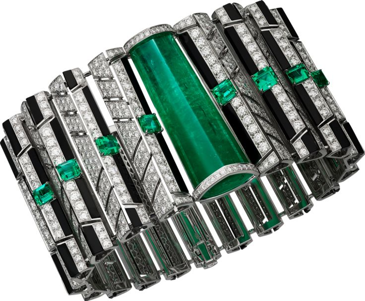 """CARTIER. """"Cinétique"""" Bracelet - white gold, one 40.57-carat emerald from Brazil, eight square-shaped and rectangular-shaped corner-cut emeralds from Colombia and Afghanistan totaling 4.07 carats, onyx, brilliant-cut diamonds. #Cartier #CartierMagicien #HauteJoaillerie #FineJewelry #Emerald #Diamond"""