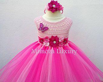 Peppa Pig Dress, Pink Flower girl dress, peppa pig tutu dress, peppa pig princess dress, hot pink tulle dress, pink birthday dress, luxury