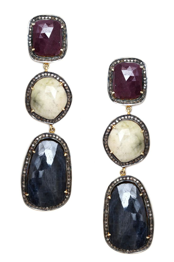 Pave diamond triple sapphire drop earrings ctw for Nancy b fine jewelry