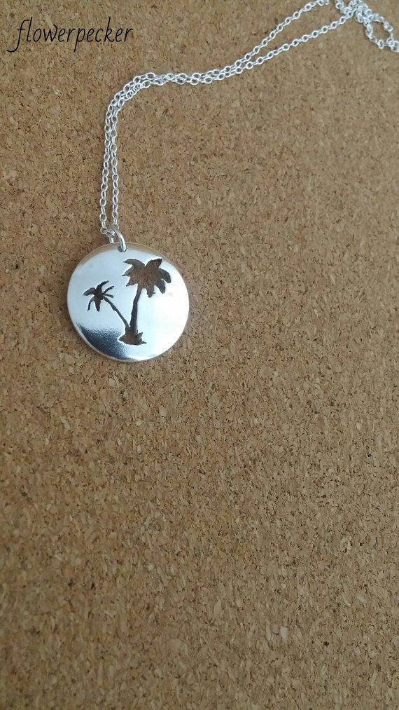 Palm tree necklace Beach jewelry Palm tree by flowerpecker on Etsy
