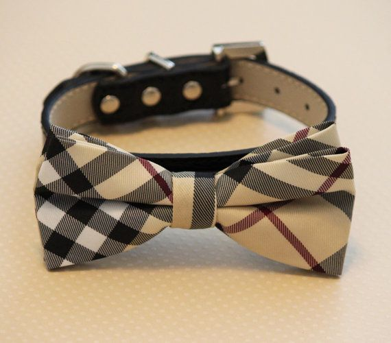 Plaid Burly wood bowtie Dog Bow Tie with high quality black leather collar, , Chic Dog Bow tie, Wedding Dog Collar on Etsy, $29.99
