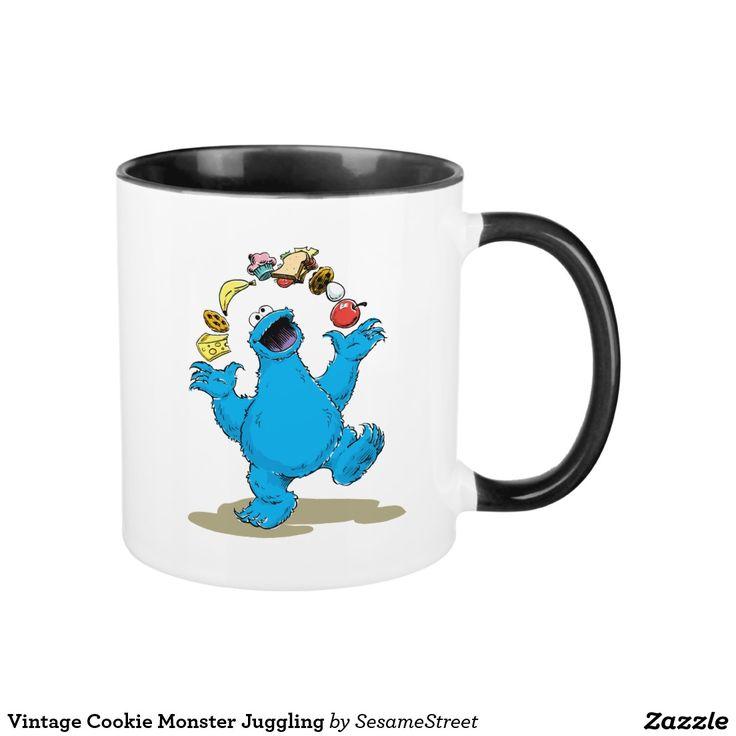 Vintage Cookie Monster Juggling. Regalos, Gifts. #taza #mug
