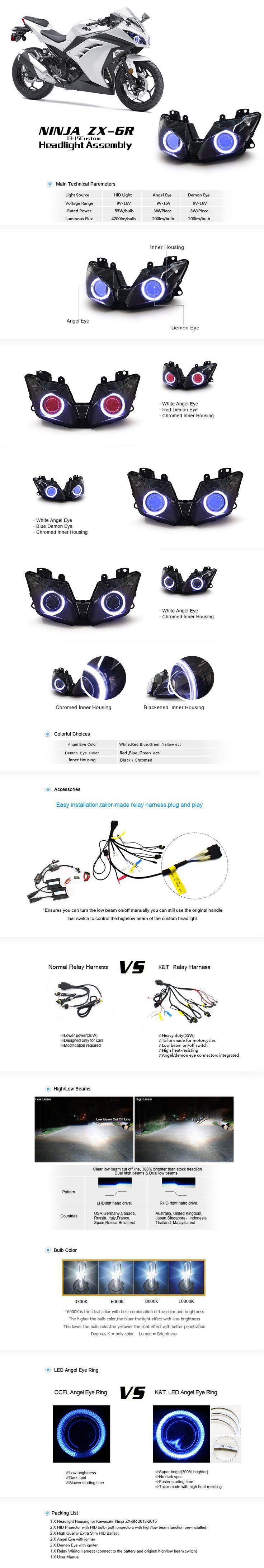 Kawasaki Ninja ZX-6R 636 Hid Projector Led Custom Headlight 2013-2015