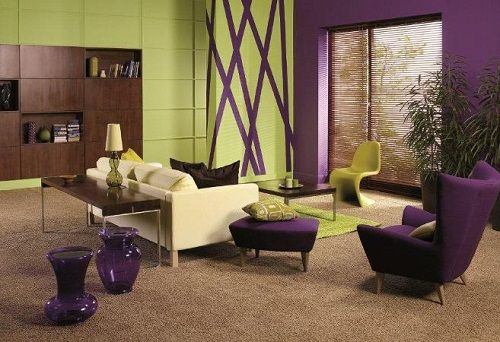 Purple and lime green living room minus the green wall for Green living room ideas
