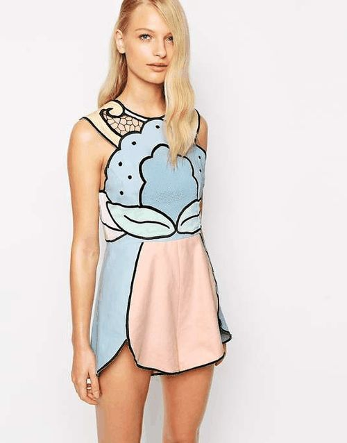 Alice McCall | Romper with Cut Out Detail in Pastel Colors #alicemccall #romper #WellTravelled #Sydney #Australia