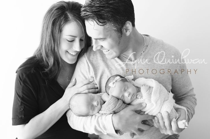 Worcester Massachusetts Parents BW with Twin Newborn Baby Boy and Girl In Nest Photographer Image Pose