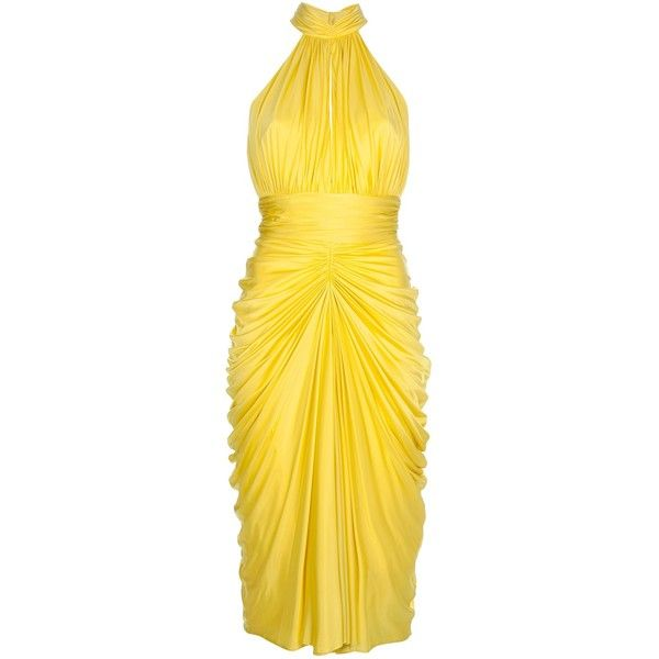 ALEXANDER MCQUEEN 'Marilyn' halter dress (11,160 MYR) ❤ liked on Polyvore featuring dresses, alexander mcqueen, vestidos, cocktail dresses, yellow dresses, sleeveless dress, ruched dress, open back dress, yellow cocktail dress i ruched cocktail dress
