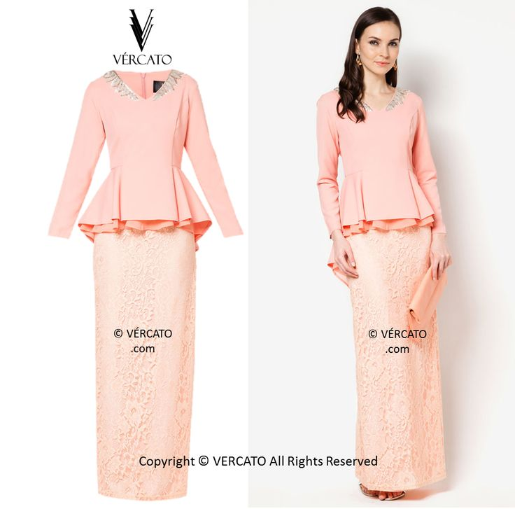 VERCATO (SHILA LEAF V-NECK DIPPED PEPLUM WITH LACE SKIRT): www.vercato.com/VMD019-PEACH